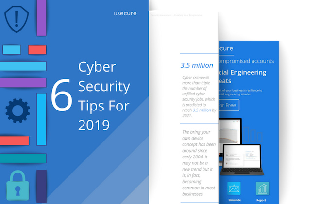 6 cyber security tips for 2019, 3 page mockup