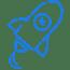 Blue icon rocket illustration