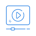 Blue play video icon.