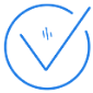 Blue tick icon with transparent background