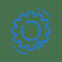 Blue cog icon.